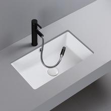 陶瓷盆台下盆方形嵌入式洗手盆洗脸池小尺寸窄19寸300宽平底30cm