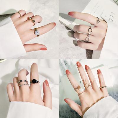 日韩潮人学生个性大气冷淡风情侣网红套装食指关节戒指尾戒指环女