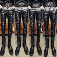 冬季时尚男士皮裤修身男裤子摩托车机车潮流男皮裤加绒小脚裤保暖
