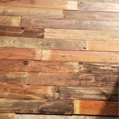 彩色老木板旧木板实木地板杉木松木背景墙仿古复古装饰木板酒吧包邮