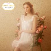 RoseTree公主睡裙女夏季冰丝宫廷睡衣甜美性感蕾丝吊带短袖家居服
