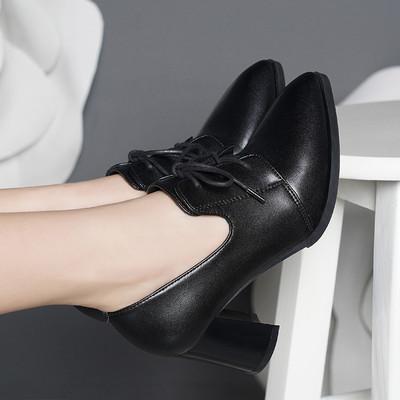 雪地意尔康2019春秋新款真皮高跟女鞋时尚粗跟深口系带工作女单鞋