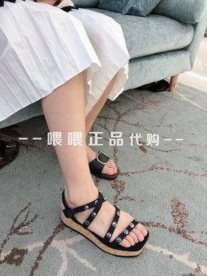 蹀愫tigrisso凉鞋厚底铆钉牛皮松糕底厚底罗马凉鞋女鞋专柜正品
