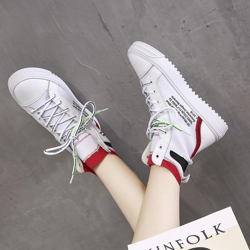 嘻哈街舞鞋潮高帮运动鞋女夏2018新款平底小白鞋女真皮休闲女板鞋