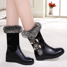百丽晶客2017冬季短靴女兔毛雪地靴保暖中筒靴平底女靴中跟棉鞋