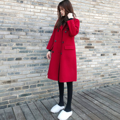2018冬季新款宽松毛呢外套中长款显瘦新年红色加厚呢子大衣结婚女