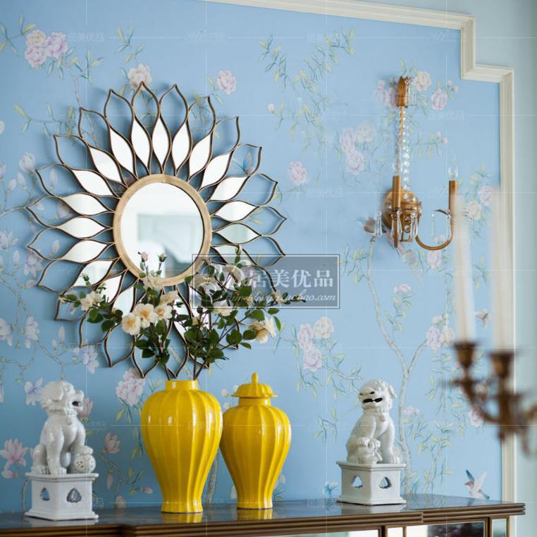 高档圆形装饰镜金色美式玄关镜现代客厅背景墙镜子床头挂饰壁炉镜