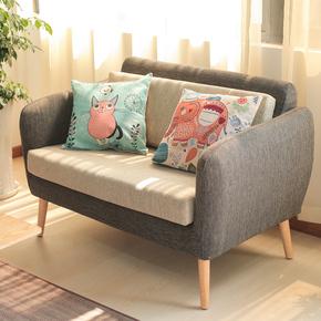 日式沙发简约休闲洽谈沙发椅单人双人咖啡饮品店卡座实木布艺沙发
