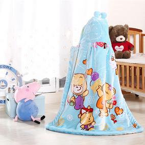 婴儿宝宝拉舍尔毛毯披风连帽斗篷加厚幼儿园儿童云毯外出抱被绒毯