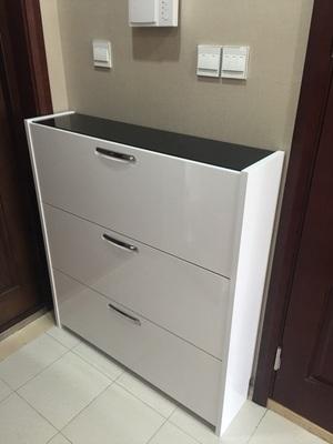 白色黑面翻斗超薄大容量、实木板材、原厂配送包邮、高档烤漆鞋柜