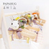 PAPAHUG felt animal baby hanger / pants clip wooden children cartoon clothes support children's clothing photo props ornaments