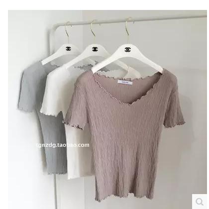 夏季新款纯色圆领木耳边短袖t恤修身显瘦短款冰丝针织衫上衣女薄