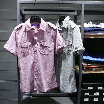 51SHOP 国内专柜尾货男士休闲短袖衬衫条纹全棉上衣男装夏款