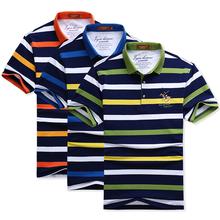 保马标条纹t速卖通夏季短袖加大码全棉刺绣保罗衫男装翻领POLO衫
