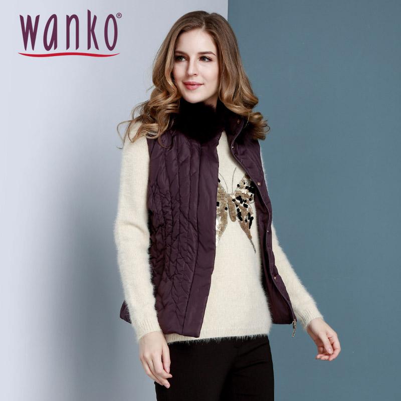 Wanko冬装新款女潮 简约纯色直筒连帽毛领背心羽绒服厚WSWQV02900