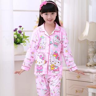 春秋季新款纯棉儿童宝宝男童女童中大童家居服套装长袖睡衣