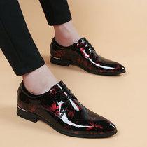 尖头皮鞋男韩版英伦布面男鞋内增高商务休闲鞋时尚潮流发型师皮鞋