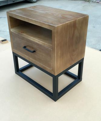 现代铁艺床头柜简约欧式实木简易小边几储物柜抽屉收纳边柜卧室新哪里便宜