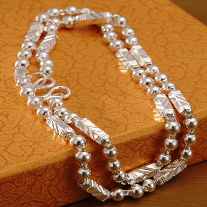 正品S999纯银男士项链时尚霸气粗款白银六角链子银饰礼物送男友