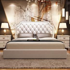 美式实木床主卧双人床简约卧室欧式乡村床婚床韩式储物家具软包