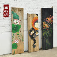 Door panel painting old wooden board portrayed hand-painted landscape painting plaque custom wall decoration painting solid wood old elm wall painting
