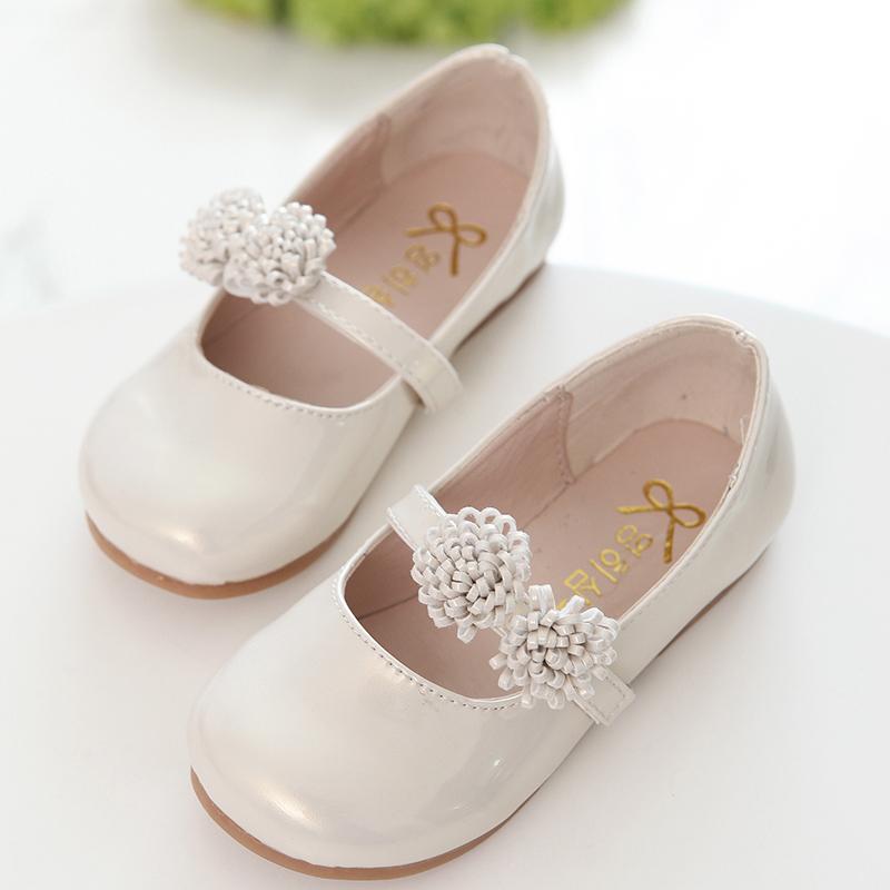 儿童皮鞋女童鞋舞蹈表演鞋春秋黑色漆皮鞋韩版单鞋宝宝白色公主鞋