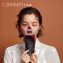 千百度2018秋新商场同款水钻绒面低跟女单鞋A8481610WXC.BANNER