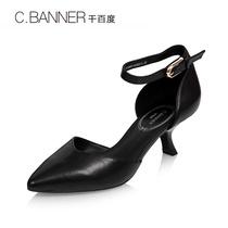A7215615千百度春夏羊皮雅致钻饰侧空半凉鞋C.BANNER