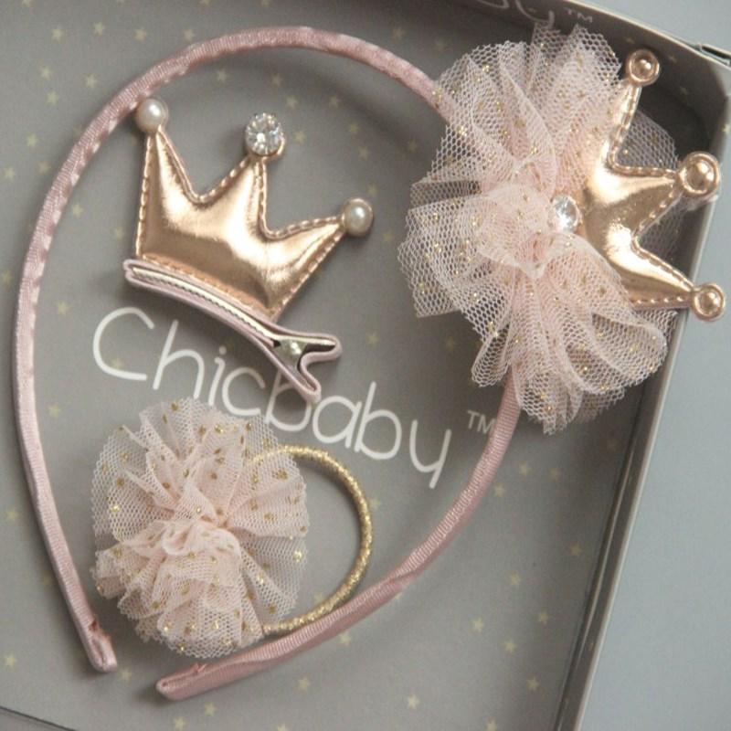 韩国香槟色新款 公主皇冠蝴蝶结发箍宝宝发夹小女孩发圈头饰礼盒