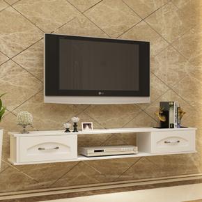 欧式小户型客厅卧室背景墙壁挂式液晶电视柜实木机顶盒架组合简约