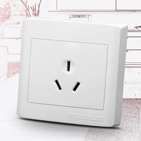 明装墙壁开关插座面板三孔16A空调插座热水器专用电源插座明线盒