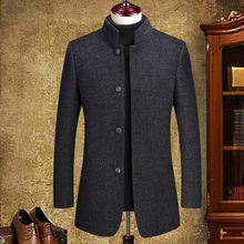 New woolen woolen overcoat men's thick medium and long Korean winter trench coat middle-aged Nizi overcoat business