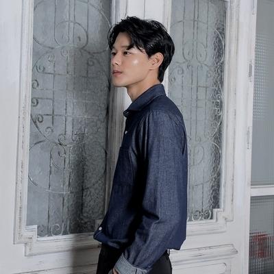 韩国代购长袖口袋衬衫Mutnam正品2018秋装新款男休闲百搭牛仔衬衫