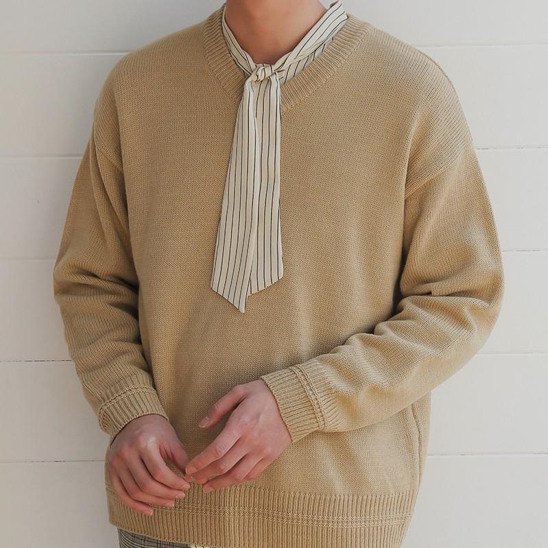 韩国代购正品V领针织毛衣时尚起义2018春装新款针织衫男722330