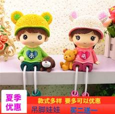 Creative resin couple small ornaments living room home bedroom decoration ornaments cute hanging feet doll furnishings small gifts