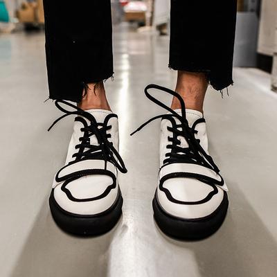 【帽子先森】很skr中帮鞋黑白撞色休闲板鞋男欧洲站真皮潮鞋子