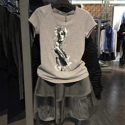 夕衫圣迪奧夏裝2018新款簡約學生百搭短袖韓版修身印花純棉t恤女