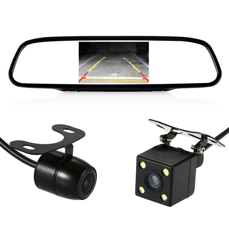 鹿途汽车前后可视泊倒车影像摄像头一体机系统4.3寸后视镜显示屏