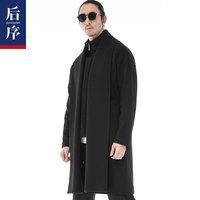 后序 呢子大衣男中长款唐装男青年过膝外套中国风男装 毛呢大衣男