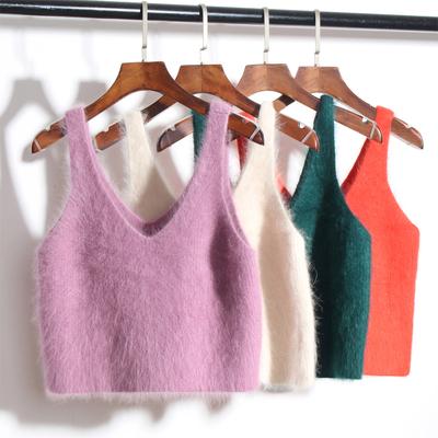 韩版秋冬兔毛吊带毛衣背心女外穿V领显瘦宽松性感短款百搭无袖bf