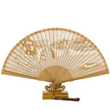 Yuelong gift fan full bamboo carving ancient fan folding fan classical Chinese style sandalwood fan custom sandalwood fan retro