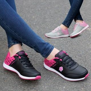 春季女鞋子2019新款皮面运动休闲鞋女士轻便舒适跑步鞋百搭旅游鞋
