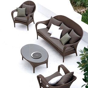 户外藤椅沙发三人藤沙发茶几组合藤编休闲家具庭院阳台藤沙发客厅