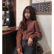 99 twins coarse wool twist winter retro slim knitted sweater cardigan short sweater jacket