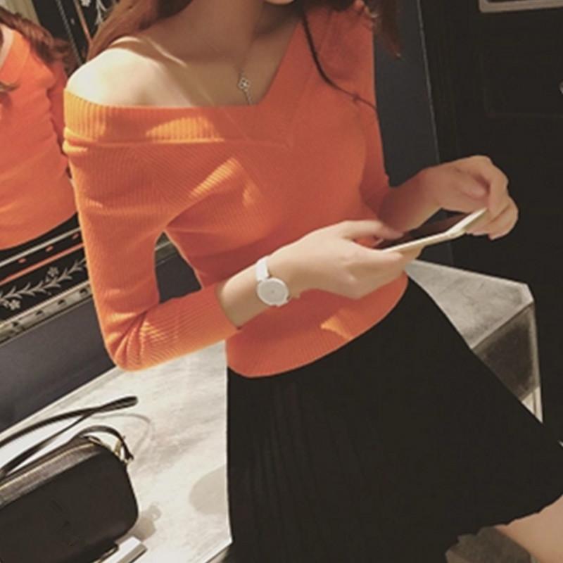 秋季女装韩版气质V领竖纹修身显瘦纯色百搭套头针织衫长袖打底衫