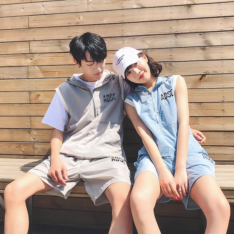 2018夏季新款 个性带帽情侣宽松无袖速干面料短裤套装纯色女上衣