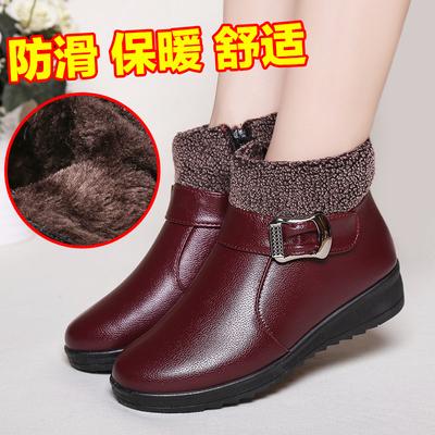 冬季妈妈鞋中老年棉鞋中年女鞋老人保暖加绒平底防滑皮鞋软底短靴