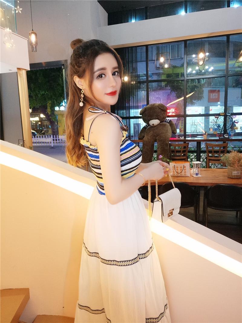 华哥弟情中打底一字领韩版吊带修身公主裙女装高腰连衣裙时尚夏季