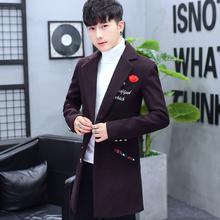 修身 大衣潮 韩版 毛呢风衣男中长款 呢子外套男士 帅气冬装 秋冬季新款