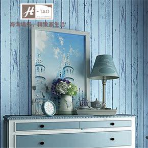 海淘地中海风格竖条纹蓝色背景墙木纹卧室客厅做旧复古无纺布壁纸